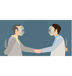 Two business man in mask to shaking hands and vector