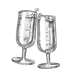 Two elegance champagne glasses monochrome vector