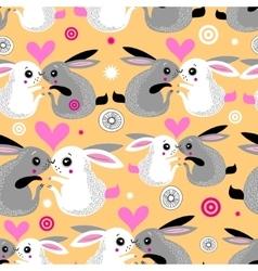 valentine pattern rabbits vector image