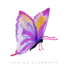 Watercolor spring butterfly collection vector
