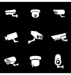 White security camera icon set vector