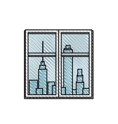 Window urban building view vector