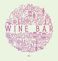 wine bar concept in circle for restaurant menu vector image