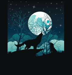 Wolf howling in night forest vector