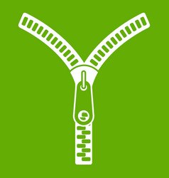 zipper with lock icon green vector image