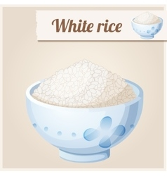 Bowl of white rice Detailed Icon vector image vector image