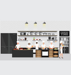 chefs cooking at the table in restaurant kitchen vector image