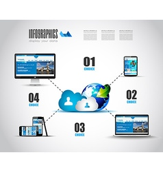 Cloud Technology Diagram with Infographics vector image vector image
