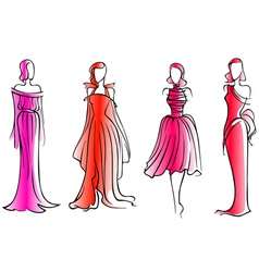 Fashion models in modern beautiful dresses vector image vector image