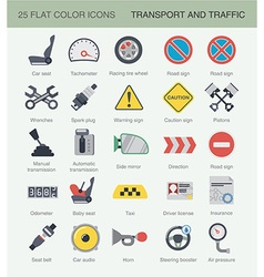 Flat car color icons vector image