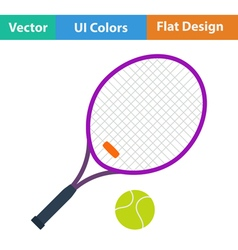 Flat design icon of Tennis rocket and ball vector image vector image