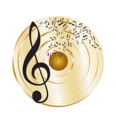 Music gold record vector image
