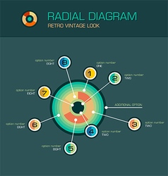 Radial diagram with beam pointers infographic vector image vector image