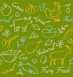 seamless pattern with eco food symbols in sketch vector image vector image