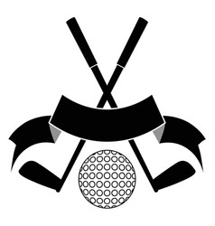 black crossed golf ball logo vector image