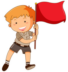 boy holding red flag vector image vector image