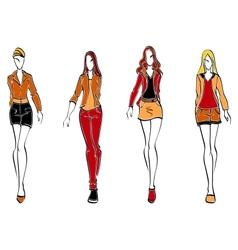 Casual fashion models vector image
