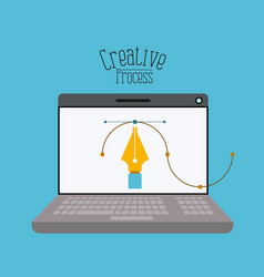 colorful background laptopcomputer with fountain vector image vector image