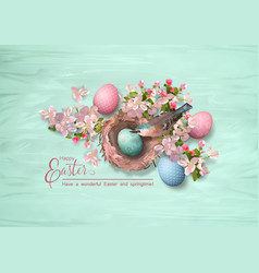 easter bird and nest vector image vector image