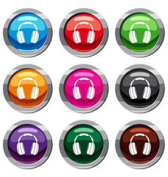 headphones set 9 collection vector image