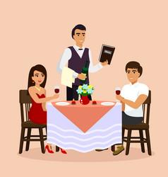 loving couple in restaurant vector image
