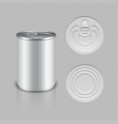 realistic canned metal packaging vector image