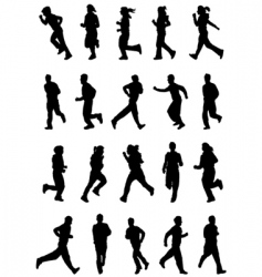 running people silhouette vector image