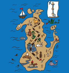 treasure map and scroll vector image