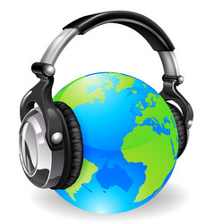 world globe music headphones vector image vector image