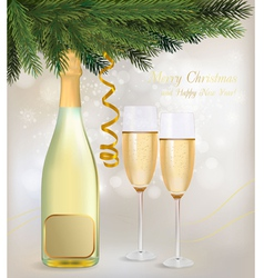 champagne and a bottle vector image vector image