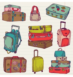Set of Vintage Colorful Suitcases vector image vector image