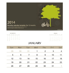 2014 calendar monthly calendar template for vector image vector image