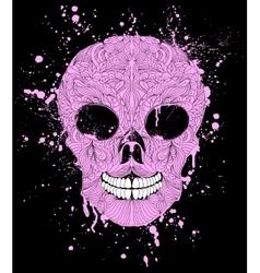 grunge skull on black background vector image
