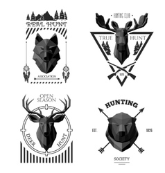 hunter socirty wolf vector image vector image