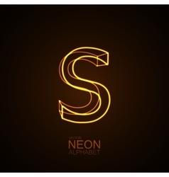 Neon 3D letter S vector image