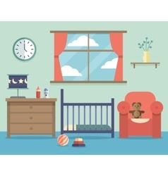Nursery baby room interior with furniture in flat vector image vector image