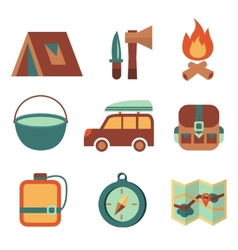 Outdoors tourism camping flat icons set vector image vector image