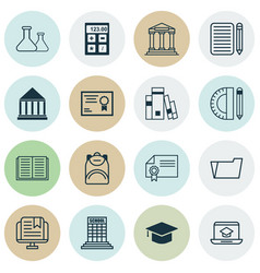 set of 16 school icons includes opened book vector image