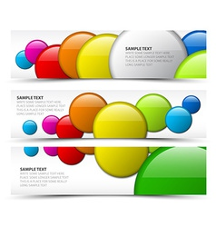 Set of horizontal banners with 3d circles vector image vector image