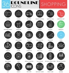 Shopping circle white black icon set vector image
