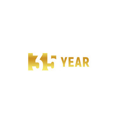 35 year happy birthday gold logo on white vector image