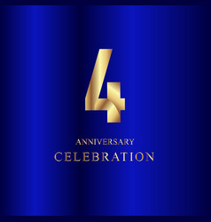 4 year anniversary celebration gold blue template vector