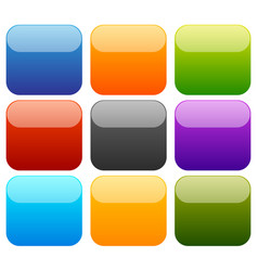 9 colorful empty squares with glossy effect vector