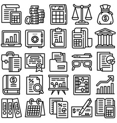 accounting icon set outline style vector image