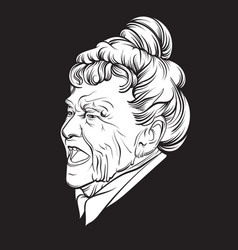 Angry old lady made in hand drawn realistic style vector