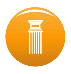 Antique column icon orange vector