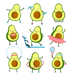 Avocado sport characters gym training healthy vector