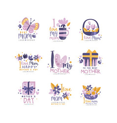 Best mom logo design set happy mothers day vector