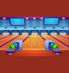 Bowling alley interior flat vector