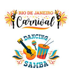 brazilian carnival big set emblems vector image